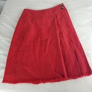Isaac Mizrahi Womens Wrap Skirt Red Button